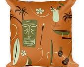 Retro Hawaiian Pillow - Cover Only - Not Stuffed