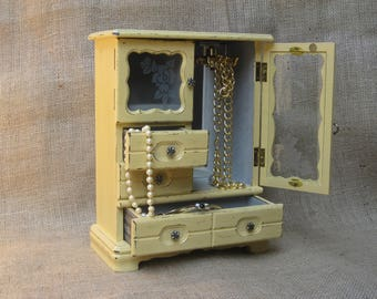 Painted Vintage Jewelry Box/Armoire Upcycled Shabby Chic Yellow Matching Paper
