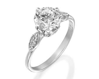 1 carat Moissanite engagement ring-White Gold Engagement Ring-Cluster engagement ring-Promise ring-Bridal ring-Art deco engagement ring
