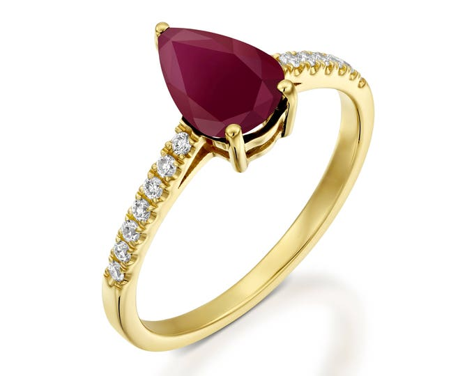ON SALE! Red Ruby Diamond Engagement Ring -Gold Ring-1 carat Ruby Engagement Ring -Birthstone ring-Promised ring-Ruby ring-Pear shaped Ruby