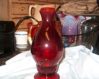 "Antique Vintage New Martinsville Red Glass Moondrops Decanter, No Stopper, 8 1/2 "" tall"