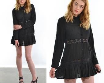 Vintage 90's Black Boho Dress