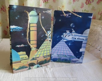 """Gift bag (set of 2), made from wallpaper, spaceships, outer space, silver, blue, black,  5"""" x 7-3/4""""."""