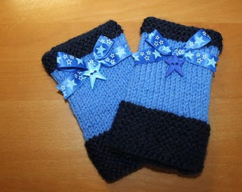 Fingerless gloves warmers wrist blue tones, 100% handmade