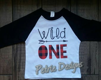 Wild ONE boys buffalo plaid Raglan t shirt first birthday - brother and family set available