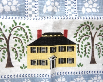 Vintage Linen Tea Towel Dish Towel with Colonial Town Design Vintage New  Great Condition