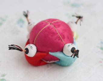 Pink Sewing Cushion - Group Hug - Kitsch Chinese Silk Sewing