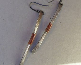 Sterling silver earrings with copper - Artisan jewellery by Emilia-m