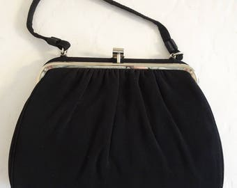 Vintage 1950's Black Evening Bag - Very Cute!!