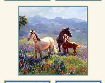 "Horses - Large Squares cotton panel -- approximately 23"" x 44"""