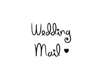"mini WEDDING MAIL text rubber STAMP - small rubber stamp, stationery stamp, envelope and tags stamp, mail stamp, 0.75"" x 0.75"" (minis123)"