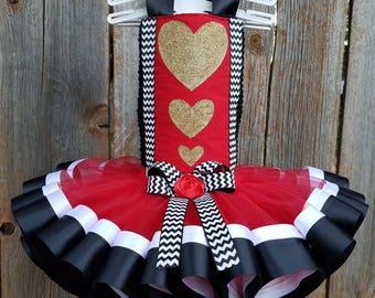 Queen of Hearts Costume, Queen of Hearts Tutu, Valentine Pageant Wear, Alice in Wonderland Costume, Queen Costume, Heart Dress, Valentines