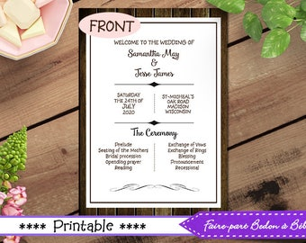 Wedding Program Printable - Wedding Program - Custom Wedding Program - Wedding card - wedding printable - Digital printable