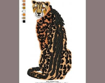 """King Cheetah file is a detailed representation of a cheetah 3.84""""X6.86"""", he looks regal on cloth."""