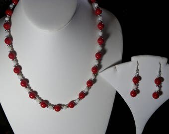 A Lovely Red  Coral and Shell Necklace and Earrings. (2017200)