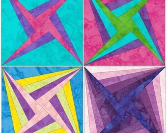 10 Inch HC Log Cabin Stars Set 1 Paper Foundation Piecing Quilting 4 Block Patterns PDF