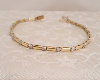 Quality Vintage Diamond Bracelet 3 mm Wide in 14k Gold -EB703