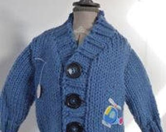 CHUNKY boy's cardigan with helicopter applique 3-6 months