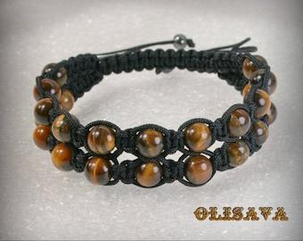 Double men Shamballa bracelet with 8 mm Tiger Eye beads , Stone bracelet , Tiger Eye Bracelet , Tiger Eye Shamballa