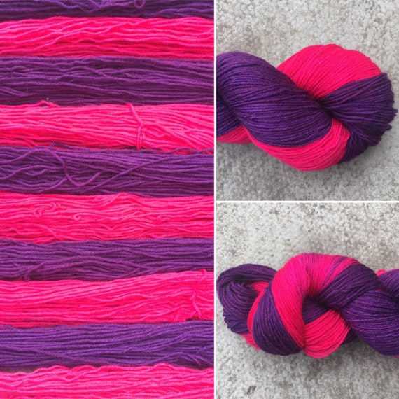For One Night Only Self Striping, pink purple indie dyed merino nylon sock yarn