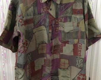 Thai silk purple green and burgundy abstract print button up XL