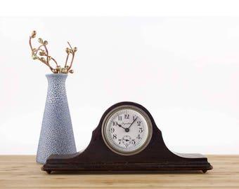 vintage ingraham wood mantel clock small wooden shelf clock mechanical clock vintage home - Mantel Clock