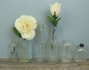 Set of 6 Vintage Clear Bottles, Old Bottles