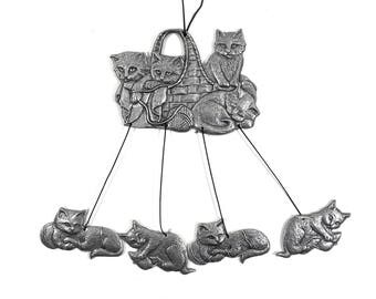 Cat Wind Chimes, Metal Windchimes with Playing Kittens, Rustic Home Decor