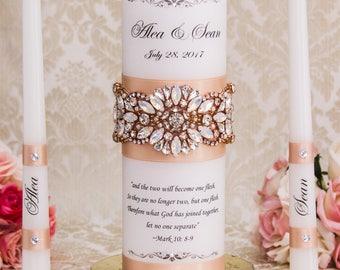 Personalized Blush Unity Candles Set, Blush Wedding Candles, Blush Wedding Unity Candle Set, Wedding Candle Set, Custom Color Candles
