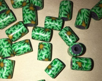 28 Green Yellow Flower Daisy Polymer Clay tube beads 9x7mm 2mm hole