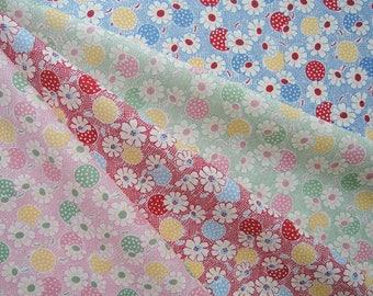 Bundle of 1/8 Moda Fresh Air by American Jane Sandy Klop Polka Dots Daisies in 4 Colorways. Printed In Japan