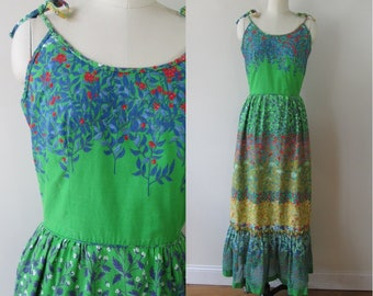 60's sun dress maxi spaghetti strap green floral by Leslie Fay size small