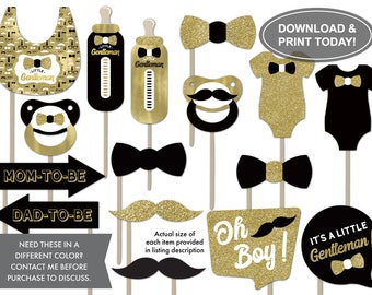 Little Man Photo Booth Props, Black, Gold, Gold Glitter, Gray, Baby Shower Props, Photo Booth Accessories, DIY Printing
