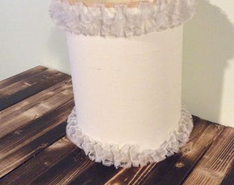 Vintage Girl's Lamp Shade with Ruffled Lace Trim/Cream Shade
