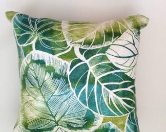 "Large Leaf Print  Pillow Cover 18""x 18"""