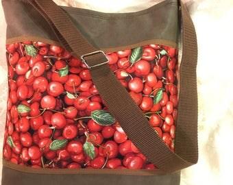 CHERRIES in dark brown faux leather shoulder bag