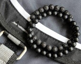 Personalized Mens Bracelet Set Black Onyx Lava Stone Bracelet Mens Gift Mens Beaded Bracelet Black Bracelet Essential Oil Diffuser Bracelet