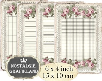 digital Writing Paper Grid Ephemera Roses Lace Journals printable 6 x 4 inch Instant Download digital collage sheet D107
