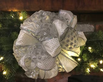 silver bells, christmas tree bow topper