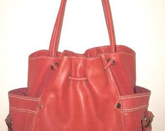 Fossil handbag Red leather hobo purse shoulder bag  Large Very Nice
