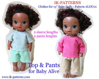 Baby Alive doll clothes patterns TOP shorts PANTS pdf pattern