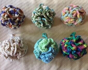 Cotton Loofah,bath sponge#5 (COUNTRY STRIPES)
