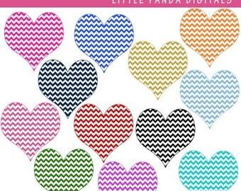 60% OFF SALE Chevron Hearts Digital Clip Art - Instant Download - C01