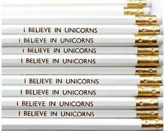 I Believe In Unicorns Pencil | White Luxury Gold Foil Stationery | Birthday | Party Favours | Back to School | Stocking Filler | HB Pencils