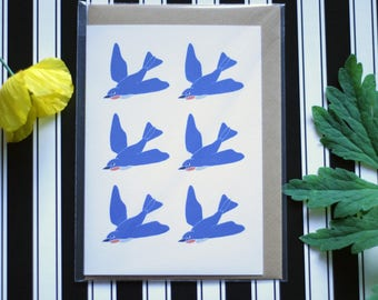 Swallows - Ecofriendly Blank Greeting Card with Vegan Envelope - 100% Recycled Paper and Biodegradable Packaging