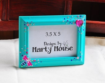 Dragonfly Picture Frame/Kids Picture frame/Heart Picture frame/Love Picture Frame/fantasy Frame/3.5x5 Picture Frame/Sea Foam Green Frame/