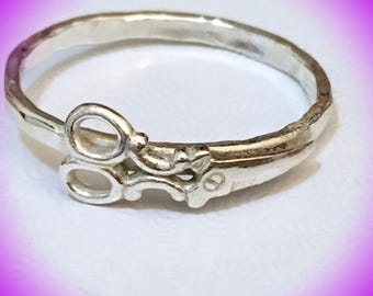 Sterling silver Hairdresser scissors ring/ Silver shears ring