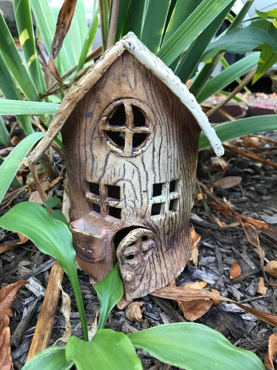 Salt Fired Ceramic  Fairy House Lantern