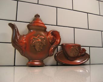 BOGO 40% OFF // Retro Pair of Chalkware - Cafe decor - Coffee pot with cup and saucer - Grapes - Bronze & gold paint - Plaster of Paris