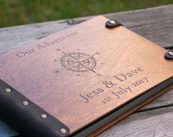 Our Adventure, Compass Album, Travel Journal, Nautical Wedding, Custom Guest Book, Photo Album, Custom Wedding Album, Wedding Album, Wedding